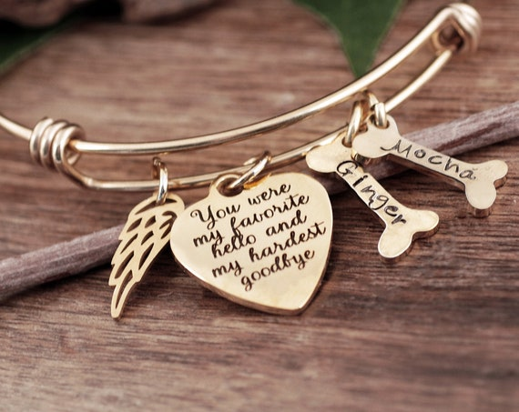 You were my Favorite Hello & My Hardest Goodbye, Dog memorial, Pet memorial, Pet memorial Bracelet, loss of pet, Sympathy gift, loss of pet