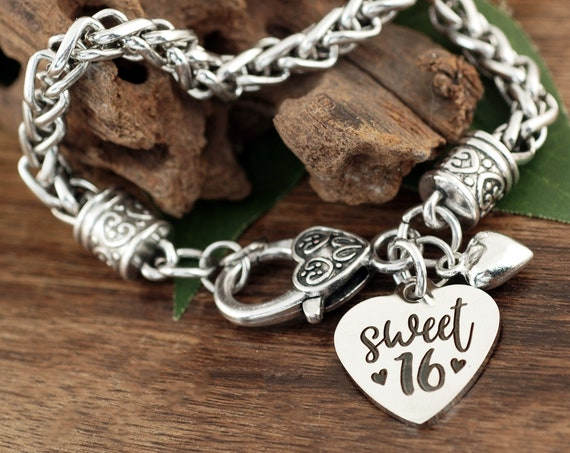 Sweet 16, Birthday Girl, Sweet 16th Birthday Gift for Her, 16 year old Jewelry, Sweet 16 Gifts, 16 Birthday Bracelet, Gift for Daughter