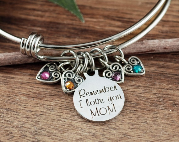 Perseonalized Mom Birthstone Bracelet, Engraved Bracelet, Mother's Birthstone Bangle Bracelet , Mother's Day Gift, Gift for Mom
