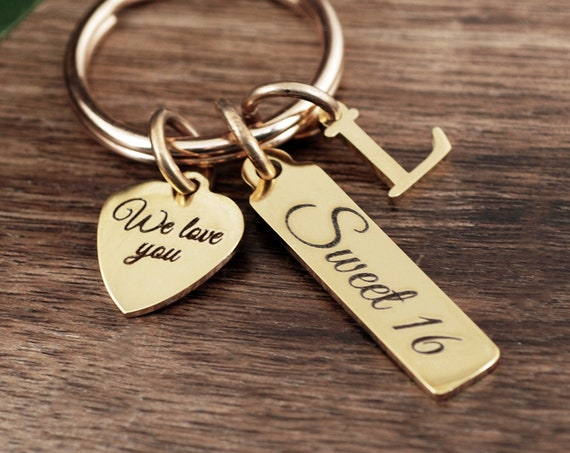 Sweet 16 Gift for Daughter, Personalized Sweet 16 Keychain, Sweet Sixteen Jewelry, Gift for Teenager, 16th Birthday Gift, Sweet 16 Birthday