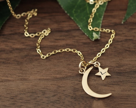 Moon and Star Necklace, Personalized Star Pendant, Star Necklace Chain, Minimalist Necklace, Celestial Star Necklace, Initial Necklace