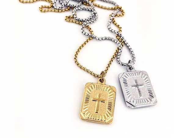 Gold Cross Necklace, Cross Pendant, Layer Necklace, Cross Jewelry, Necklace Gift for Women, Stainless Steel Cross Charm, Medallion Cross
