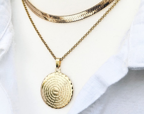 24kt Gold Filled The Lord's Prayer, Our Father Prayer Medallion, Our Father who Art in Heaven, Religious Necklace, Faith Necklace