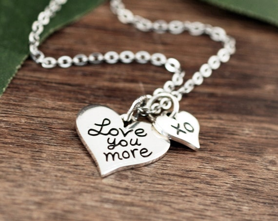 Love You More Necklace, Serling Silver Necklace, Mothers Day Necklace, Love You More Charm, Romantic Gift, Small Heart Necklace, XO Charm