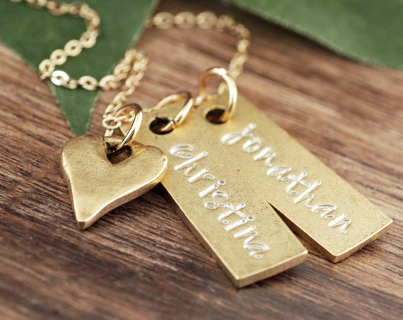 Personalized Bar Necklace with Heart, Necklace With Kids Names, Kid's Name Necklace, Necklace For Mom, Mother's Necklace, Nana Necklace