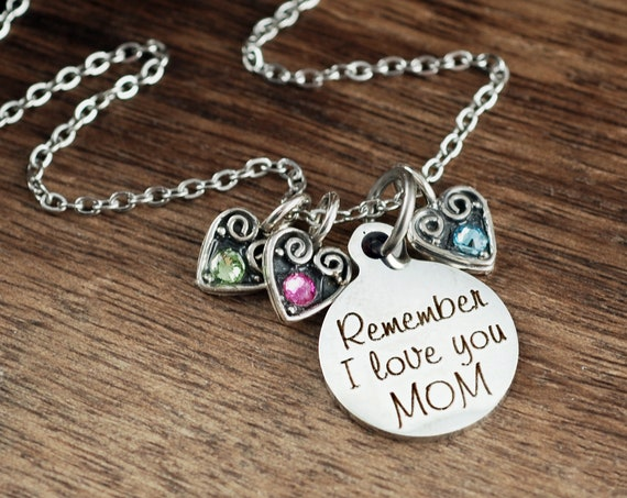 Personalized Mom Birthstone Necklace, Engraved Necklace, Mother's Birthstone Necklace , Mother's Day Gift, Gift for Mom, I love you Mom