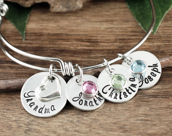 Personalized Jewelry for Grandma with Names, Bangle Bracelet with Charms, Custom Bracelets for Women, Hand Stamped Charm Bracelet for Her