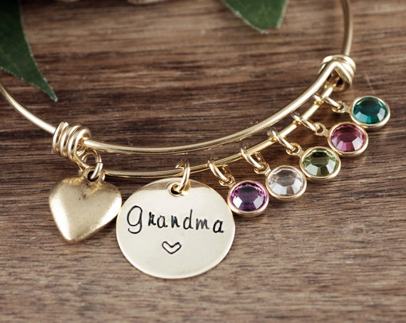 Personalized Grandma Bracelet with Birthstones, Custom Bangle Bracelet with Charms, Charm Bracelet for Women, Grandmother Birthstone Jewelry