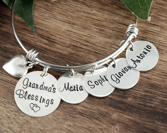 Name Bracelet, Personalized Grandmother Blessings jewelry , Gift from Grandchildren, Bangle Charm Bracelet, Charm Bracelet for Women