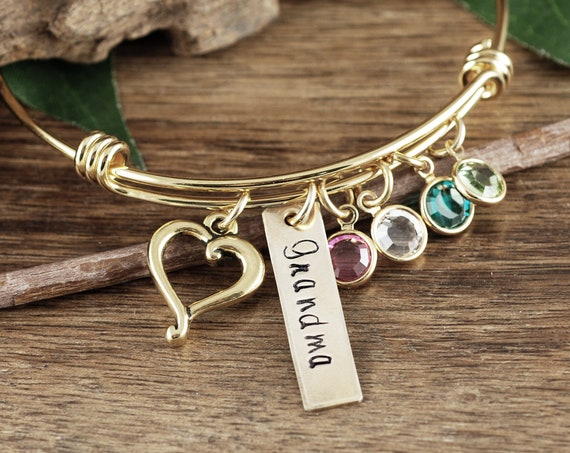Grandma Bracelet Personalized, Bracelet with Birthstones, Custom Bangle Bracelet with Charms, Charm Bracelet for Women, Grandmother Jewelry