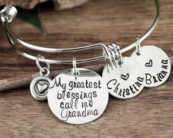 My Greatest Blessings Call me Grandma, Personalized Grandma Bracelet, Bracelet with Charms, Charm Bracelet for Women, Grandmother Jewelry