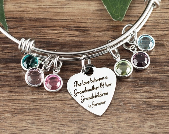 Grandmother Birthstone Jewelry, Personalized Grandma Bracelet with Birthstones, Love between a Grandmother & her Grandchildren is forever