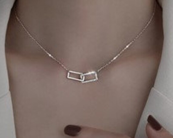 Sterling Silver Necklace, Shiny Rectangular Pendant, Cubic Zirconia Choker, Gift For Girls, Minimalist Jewelry, Clavicle Necklace