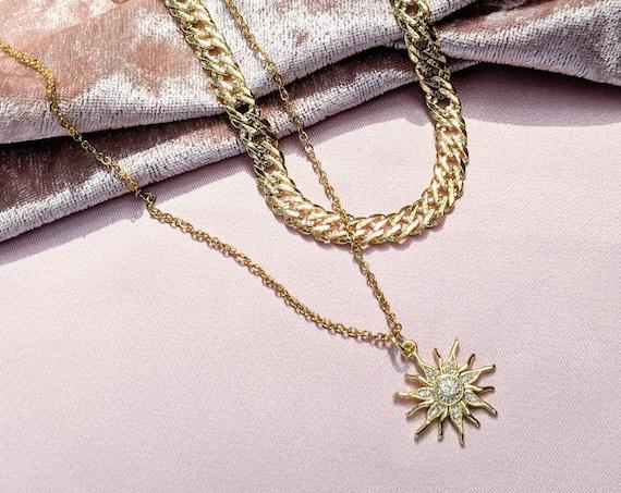 Sunshine Necklace, Sunshine Jewelry, Sun Charm Necklace, Link Necklace, Necklaces for Women, 18kt Gold Plate Chain, Choker Necklace