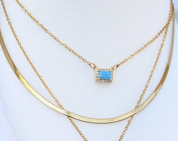 Tiny Bar Necklace, Dainty Rectangle Turquoise Necklace, Gold Layering Necklace, Gift for Mom, Necklace for Women, Mothers Day Gift
