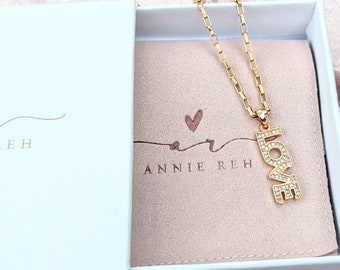 Gold Love Necklace, Love Charm with Rhinestones, Valentines Day, Anniversary Necklace, Birthday Gift, Necklaces for Women, Mother's Day Gift