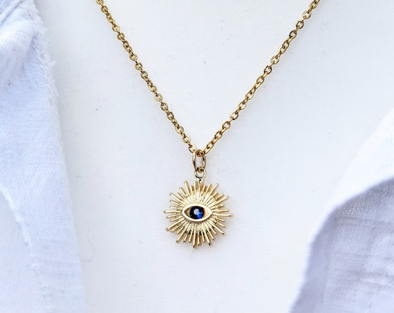 Gold Filled Evil Eye Sunburst Charm, Boho Charm, Evil Eye Charm, Evil Eye Jewelry, Greek Eye Charm,  Protection Necklace, Kabbalah Necklace