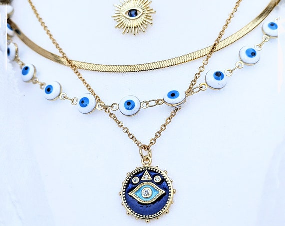 Evil Eye Necklace, Blue Evil Eye Jewelry, Kabbalah Necklace, Protection Necklace, Bridesmaid Jewelry, Christmas Gift, 24kt Gold Filled