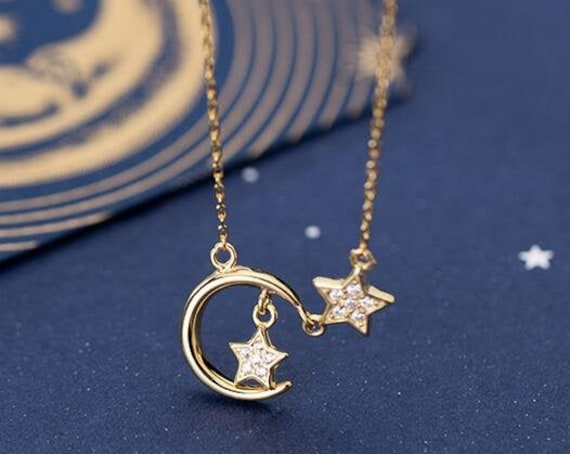 Sterling Silver Moon and Star Necklace, Star Charm Necklace, Clavicle Necklace, Minimalist Necklace, Celestial Moon & Star Pendant