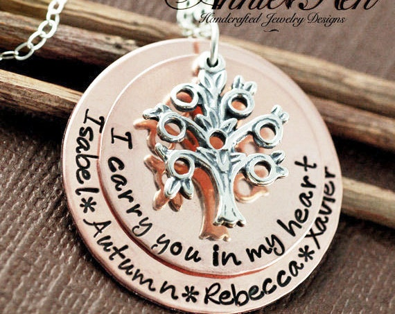 Family Tree Grandma Necklace, Hand Stamped Necklace, I carry you in my Heart, My Family Jewelry, Tree of Life GIft, Gift for Grandma