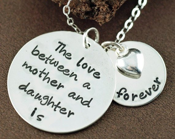 Love between a Mother & Daughter is forever, Mothers Necklace, Mommy Necklace, Christmas Gift for Mom, Hand Stamped Necklace