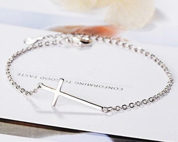 Sterling Silver Sideways Cross Bracelet, Shiny Cross Bracelet, Gift For Girls, Minimalist Jewelry, Bracelet for Women, Faith Bracelet