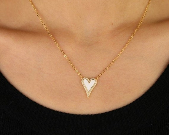 Crystal Heart Pendant Necklace, Heart Necklace, Pave Heart Necklace, Love Necklace, Anniversary Gift, CZ Heart Necklace, Elongated Heart