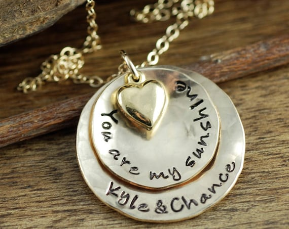 You are My Sunshine Necklace, Grandma  Necklace, Personalized Gold Necklace, Gold Jewelry, Hand Stamped Gold Necklace, Gift for Grandma