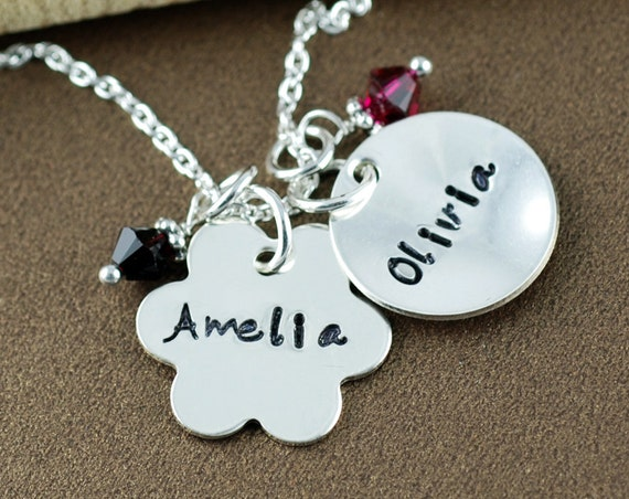 Personalized Flower Necklace | Hand Stamped Mommy Jewelry | Personalized Name Necklace | Mommy Necklace | Flower Girl Jewelry | Gift for Mom