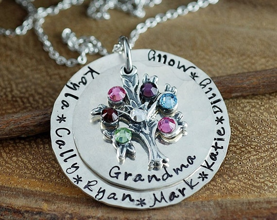 Personalized Family Tree Necklace, Hand Stamped Necklace, Grandma Necklace, Grandma Jewelry, Tree of Life Jewelry, Gift for Grandma