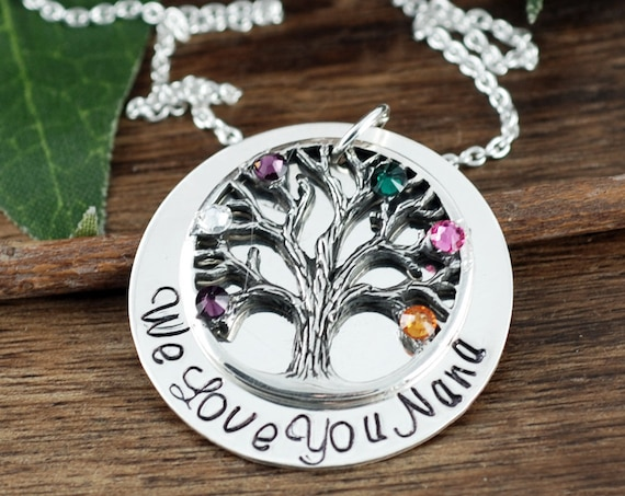 Grandma Family Tree Necklace, Mother's Necklace, Grandmother Jewelry, Birthstone Family Tree Necklace, Tree of Life Jewelry, Gift for Mom