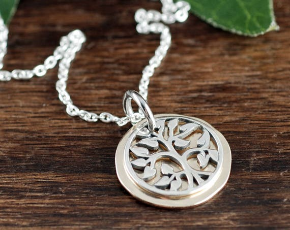 Sterling Silver Tree of Life Necklace, Family Tree Necklace, Silver and Gold Necklace, Hammered Gold Necklace, Family Jewelry
