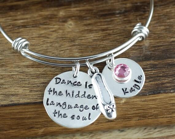 Dance Teacher Gift, Dancer Bracelet, Personalized Bangle Bracelet, Dancing Bracelet, Silver Bangle Charm Bracelet, Ballet Slipper Bangle