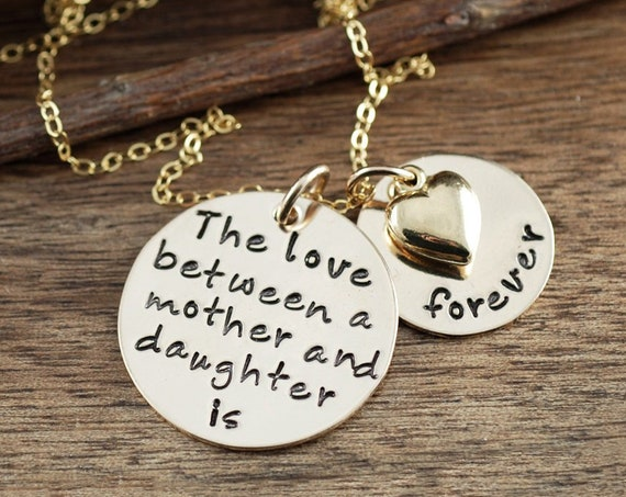 Love between a Mother & Daughter is forever, Gold Mother's Necklace, Mommy Necklace, Christmas Gift Mom, Personalized Hand Stamped Necklace