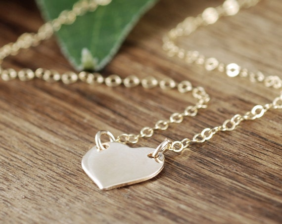 Gold Heart Necklace, Love Necklace, 14kt Gold Filled Chain Necklace, Young Adult, Charlize Theron Replica, Petite Gold Heart Necklace
