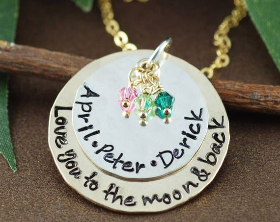Gifts for Mom, Personalized Mom Necklace, Love you to the Moon and Back, Kids Names Necklace, Mothers Necklace, Moon and Back Jewelry