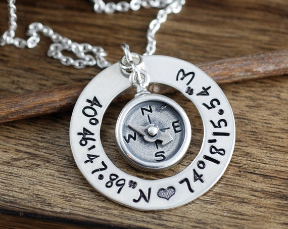 Hand Stamped Compass Necklace, Coordinates Necklace, Latitude Longitude Necklace, Travel Necklace, Journey Necklace, Best Friend Necklace