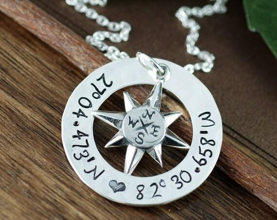 Coordinates Necklace, Personalized Compass Necklace, North Star Necklace, Latitude Longitude Necklace, Travel Necklace, Journey Necklace