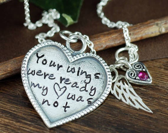 Personalized Memorial Necklace, Your wings were ready, But my Heart was Not, Memorial Jewelry for Her, Sympathy Gift, Angel Wing Jewelry
