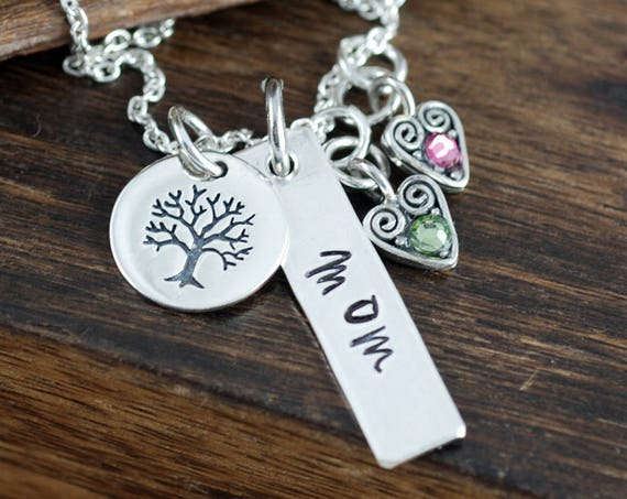Personalized Mother's Necklace, Family Tree Necklace, Grandma's Birthstone Necklace , Silver Bar Necklace, Mother's Day Gift, Gift for Mom