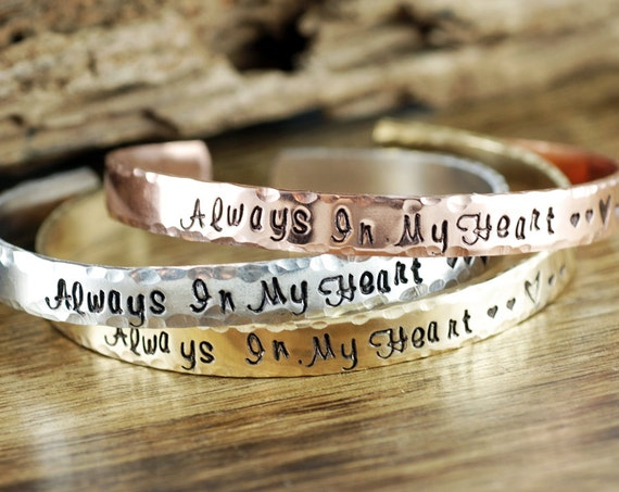 Personalized Always in my Heart, Remembrance Bracelets, Remembrance Jewelry, Memorial Jewelry, Miscarriage Jewelry, Loss of loved One