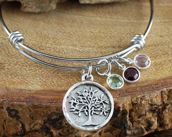 Family Tree Bangle Bracelet, Silver Tree of Life Bracelet, Silver Tree Bangle Bracelet, Birthstone Charm Bracelet, Tree of Life Bangle