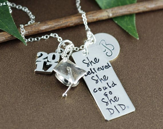 She believed she could so She Did Necklace | Graduation Gift Necklace | Personalized Inspiration Necklace | Gift for Graduate | Initial