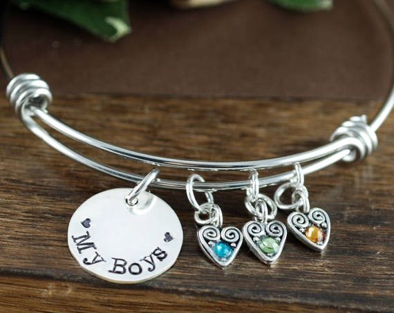 Love my Boys Birthstone Bracelet, Mother of Boys, Mother's Birthstone Bangle Bracelet , Mother's Day Gift, Mom of Boys, Love My Kids