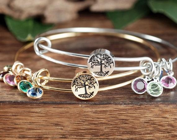 Family Tree Bangle Birthstone Bracelet, Grandma Tree of Life Bangle, GIft for Grandma, Grandma Bracelet, Tree of Life Jewelry
