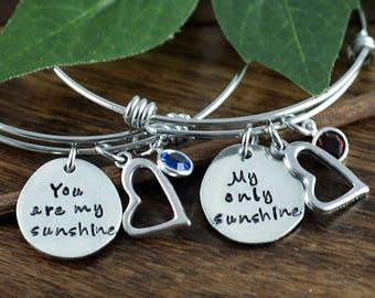 You Are My Sunshine Bracelet, My Only Sunshine Bracelet Set, Mother Daughter Gift Set, Gift for Daugther, Gift for Mom, Bangle Bracelets