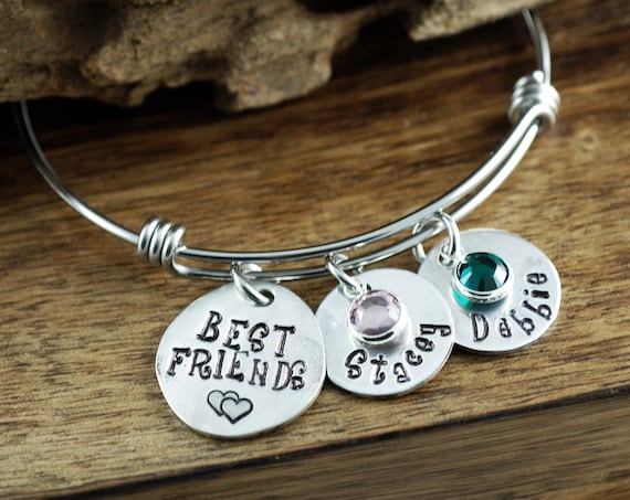 Personalized Bangle Bracelet, Best Friends Bracelet,  Silver Bangle Charm Bracelet, Name Bracelet, Gift for Best Friend, BFF Bracelet