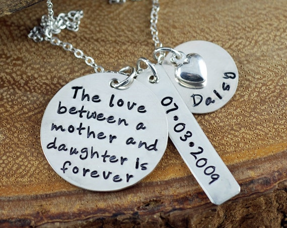 Hand Stamped Mommy Necklace, Love Between a Mother and Daughter,  Personalized Mommy Jewelry,  Keepsake Necklace, Mother Daughter Gift