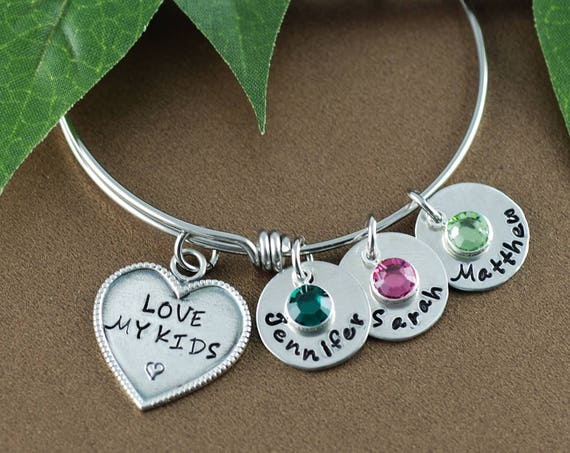 Love my Kids Bangle Bracelet, Personalized Mom Bracelet, Silver Charm Bracelet, Love my Boys Bangle, Love Girls Bangle, Mommy Bracelet