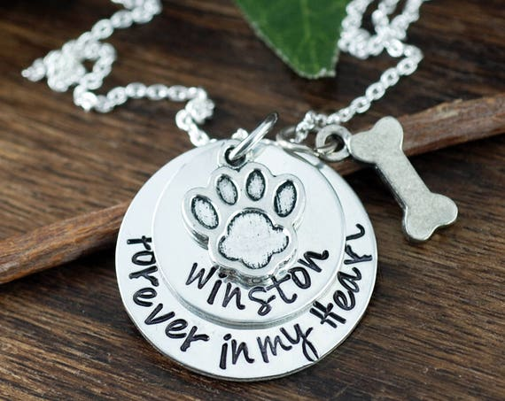 Pet Memorial Jewelry, Forever In My Heart Memorial Necklace, Personalized Pet Jewelry, Dog Jewelry, Pet Jewelry, Dog Bone Charm Necklace